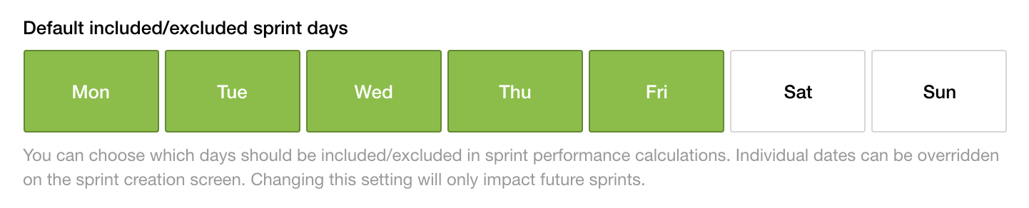 Screenshot of the sprint days picker on the project ticket settings page