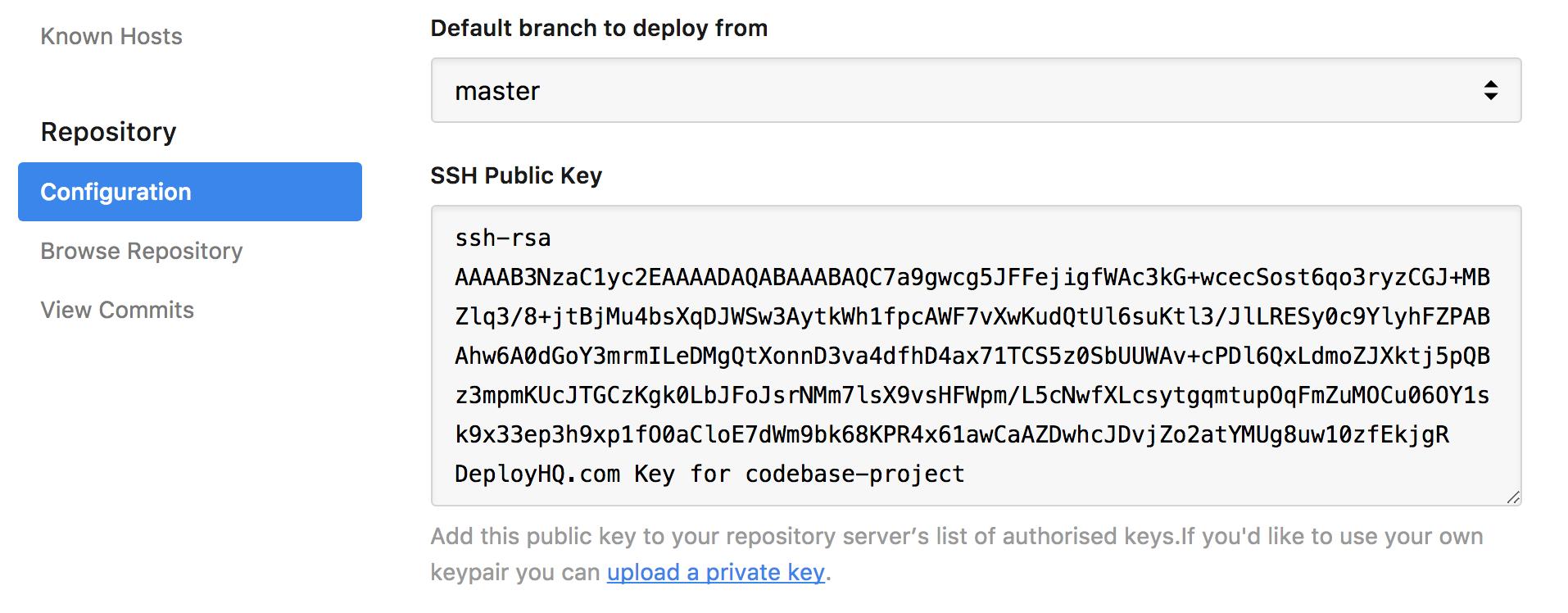 DeployHQ public key