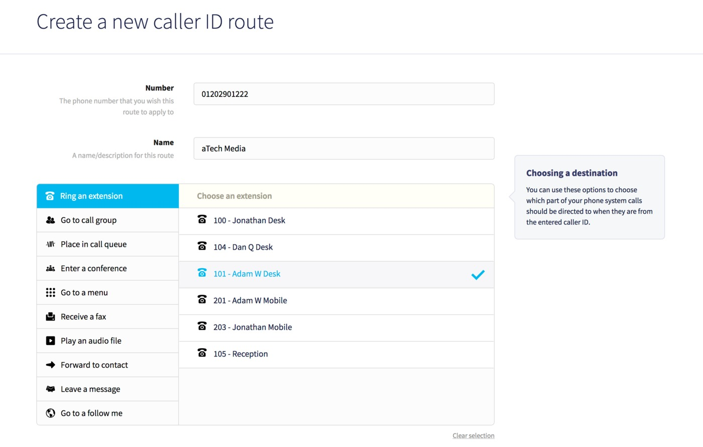 New incoming call route