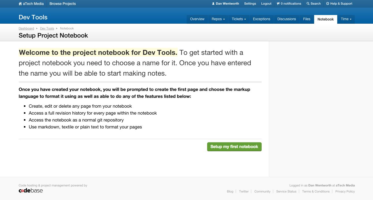 Notebook setup instructions