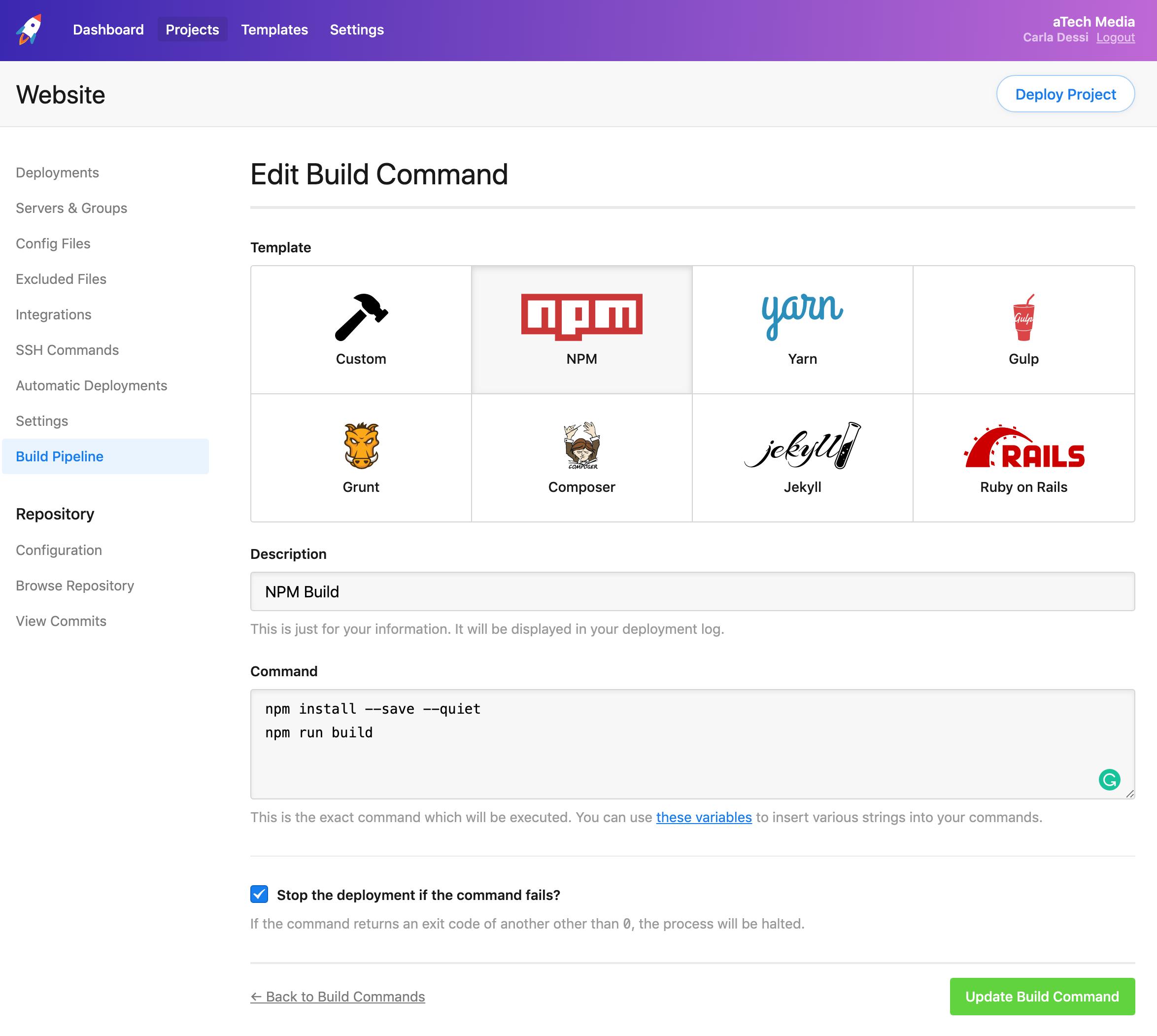 Build commands