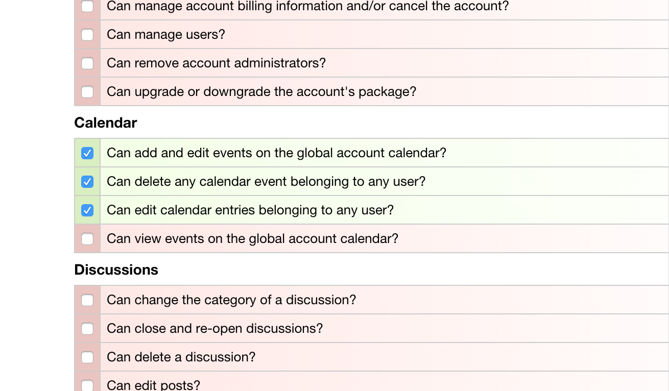 Role Management - Editing Calendar Permissions