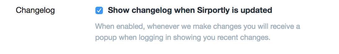 Show changelog when updated checkbox