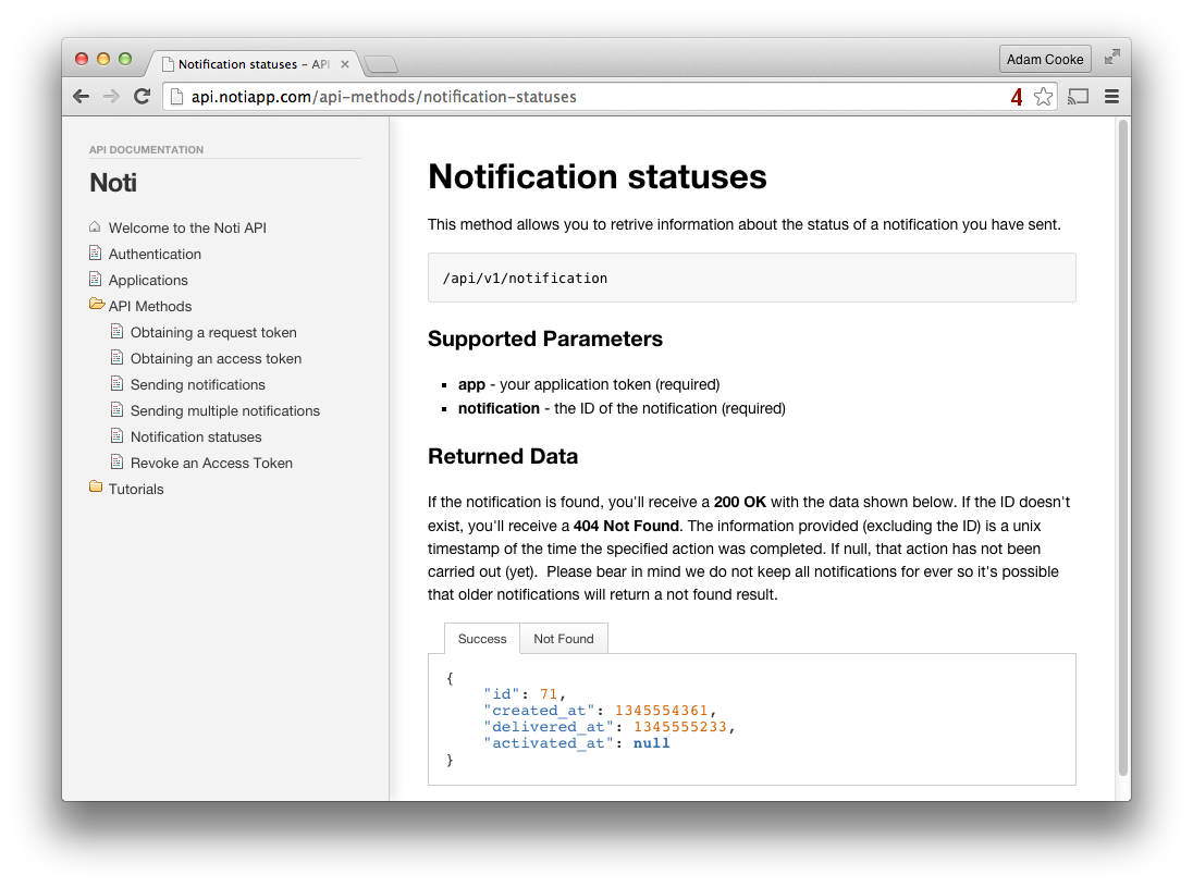 API Docs Screenshot
