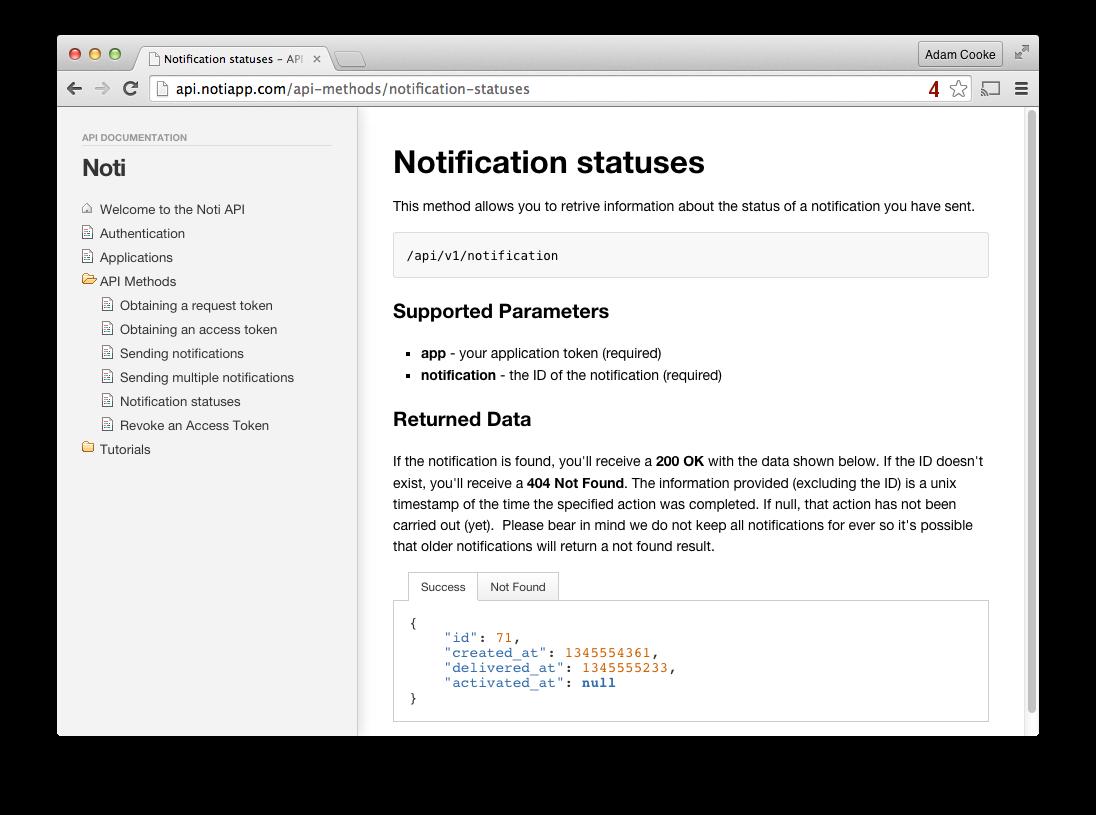 API Docs Screenshot