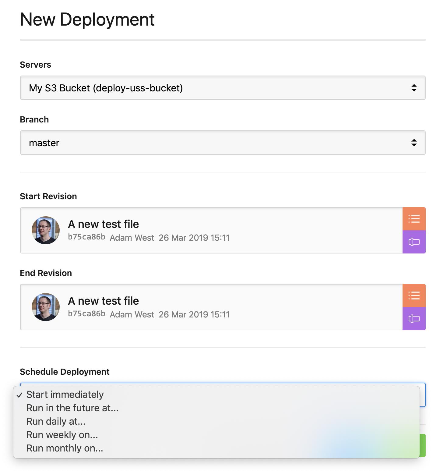 Schedule deployment