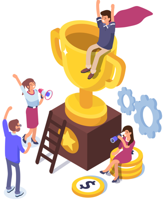 An illustration of a person on a trophy celebrating the success of their new business venture
