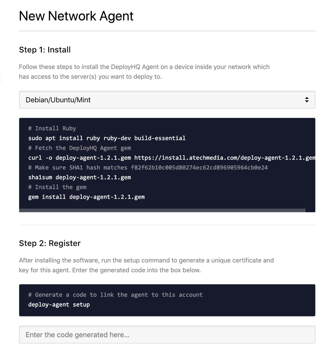 Start agent setup