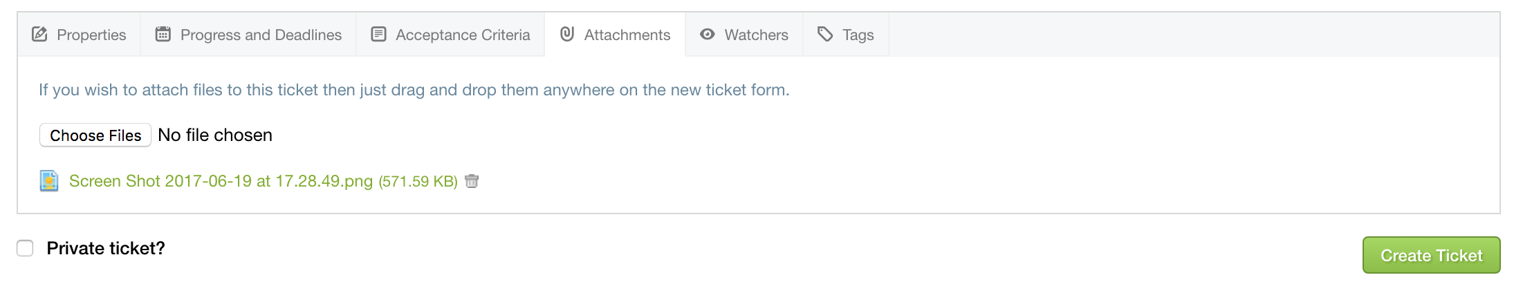Adding an attachment to a ticket