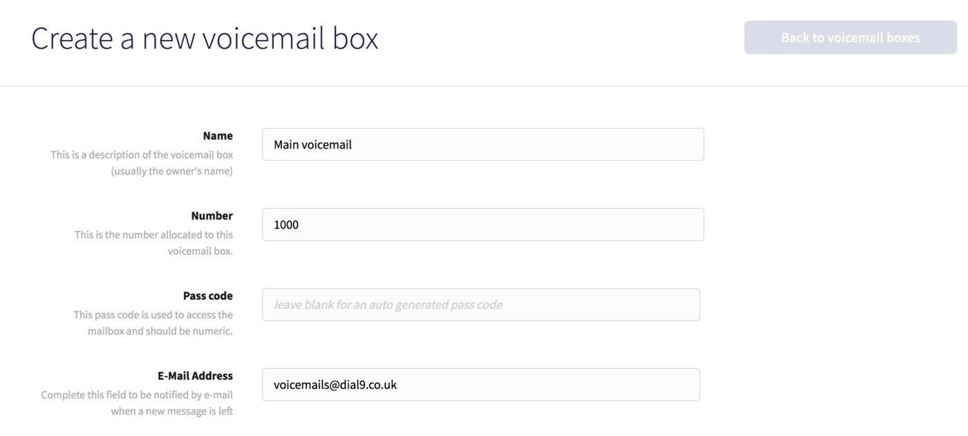 Voicemail box